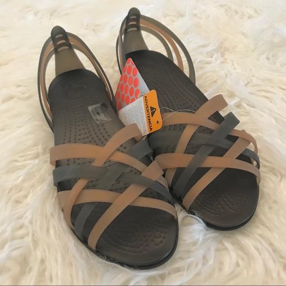 0f8e56dd7d61d Crocs huarache flat sandals bronze espresso